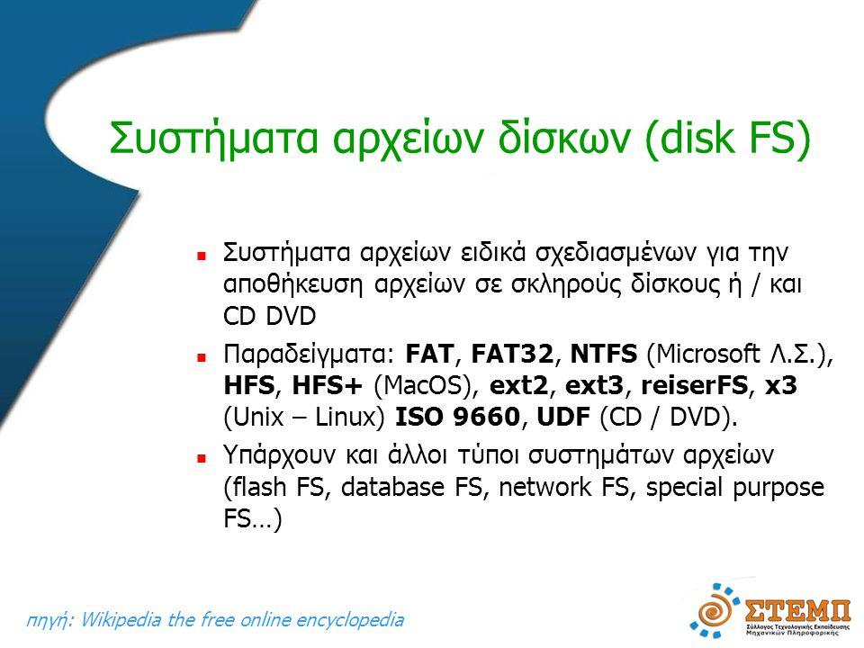 Συστήματα αρχείων δίσκων (disk FS)  Συστήματα αρχείων ειδικά σχεδιασμένων για την αποθήκευση αρχείων σε σκληρούς δίσκους ή / και CD DVD  Παραδείγματα: FAT, FAT32, NTFS (Microsoft Λ.Σ.), HFS, HFS+ (MacOS), ext2, ext3, reiserFS, x3 (Unix – Linux) ISO 9660, UDF (CD / DVD).