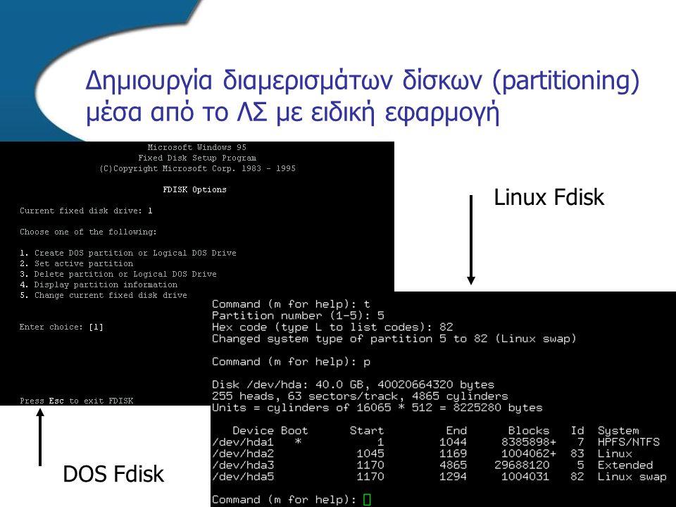 Δημιουργία διαμερισμάτων δίσκων (partitioning) μέσα από το ΛΣ με ειδική εφαρμογή DOS Fdisk Linux Fdisk