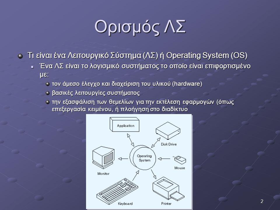 2 Ορισμός ΛΣ Τι είναι ένα Λειτουργικό Σύστημα (ΛΣ) ή Operating System (OS)  Ένα ΛΣ είναι το λογισμικό συστήματος το οποίο είναι επιφορτισμένο με: τον άμεσο έλεγχο και διαχείριση του υλικού (hardware) βασικές λειτουργίες συστήματος την εξασφάλιση των θεμελίων για την εκτέλεση εφαρμογών (όπως επεξεργασία κειμένου, ή πλοήγηση στο διαδίκτυο