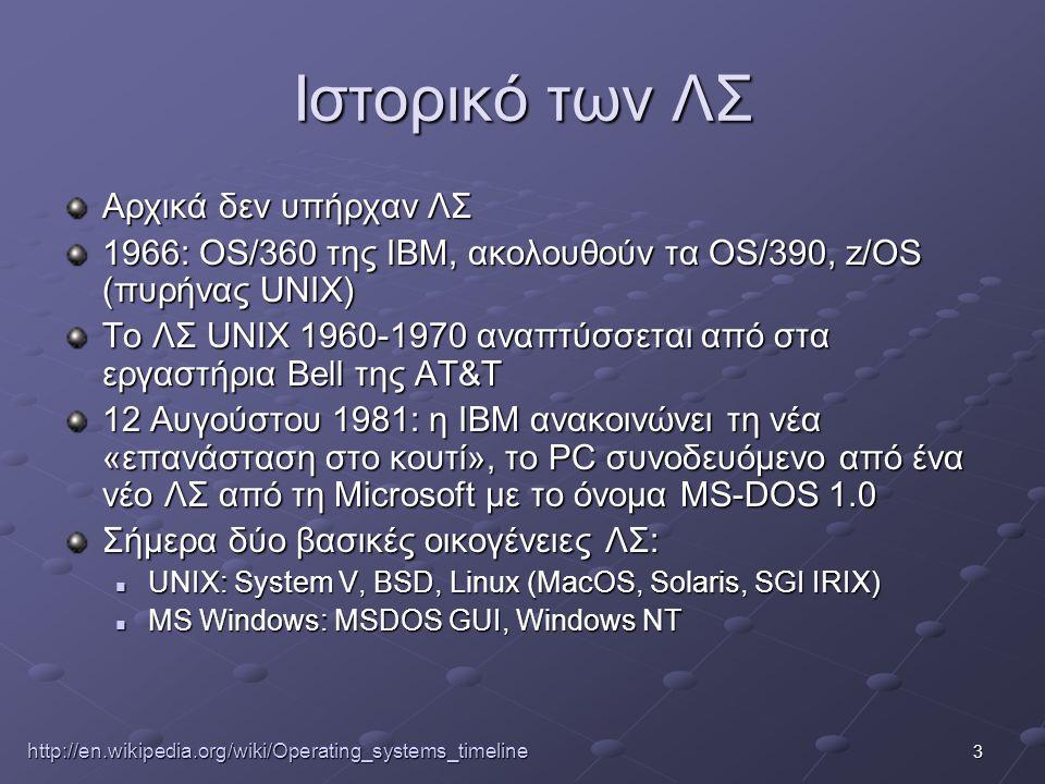 3 Ιστορικό των ΛΣ Αρχικά δεν υπήρχαν ΛΣ 1966: OS/360 της IBM, ακολουθούν τα OS/390, z/OS (πυρήνας UNIX) Το ΛΣ UNIX 1960-1970 αναπτύσσεται από στα εργαστήρια Bell της AT&T 12 Αυγούστου 1981: η IBM ανακοινώνει τη νέα «επανάσταση στο κουτί», το PC συνοδευόμενο από ένα νέο ΛΣ από τη Microsoft με το όνομα MS-DOS 1.0 Σήμερα δύο βασικές οικογένειες ΛΣ:  UNIX: System V, BSD, Linux (MacOS, Solaris, SGI IRIX)  MS Windows: MSDOS GUI, Windows NT http://en.wikipedia.org/wiki/Operating_systems_timeline