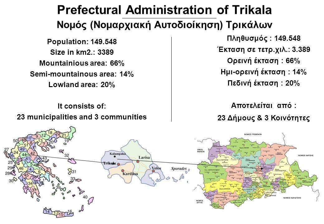 Πληθυσμός : 149.548 Έκταση σε τετρ.χιλ.: 3.389 Ορεινή έκταση : 66% Ημι-ορεινή έκταση : 14% Πεδινή έκταση : 20% Αποτελείται από : 23 Δήμους & 3 Κοινότη