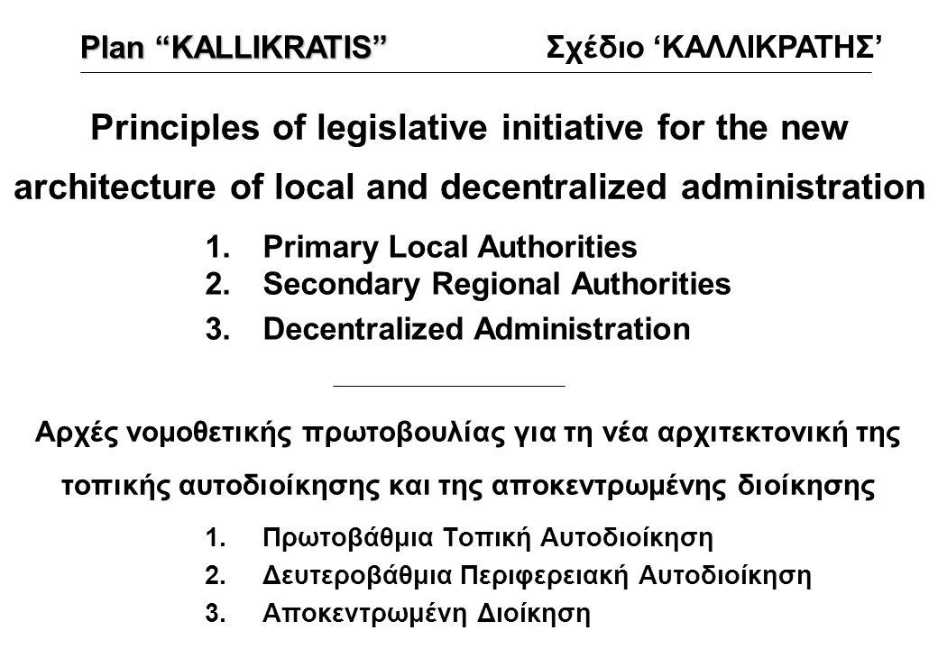 Αρχές νομοθετικής πρωτοβουλίας για τη νέα αρχιτεκτονική της τοπικής αυτοδιοίκησης και της αποκεντρωμένης διοίκησης 1.Πρωτοβάθμια Τοπική Αυτοδιοίκηση 2