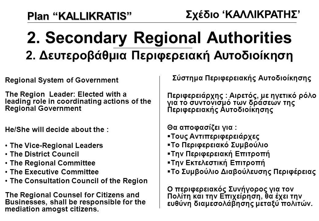 2. Secondary Regional Authorities 2. Δευτεροβάθμια Περιφερειακή Αυτοδιοίκηση Σύστημα Περιφερειακής Αυτοδιοίκησης Περιφερειάρχης : Αιρετός, με ηγετικό