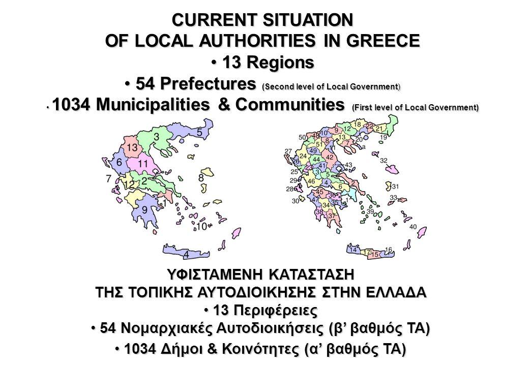 ΥΦΙΣΤΑΜΕΝΗ ΚΑΤΑΣΤΑΣΗ 13 Διοικητικές Περιφέρειες 1.