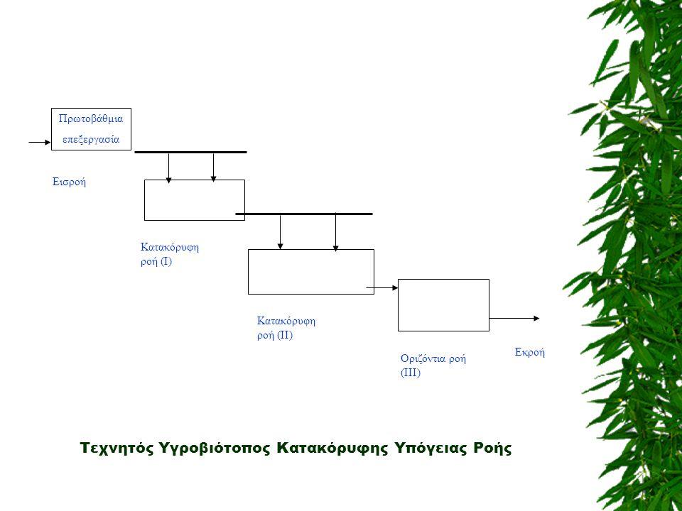 Εκροή Εισροή Κατακόρυφη ροή (Ι) Κατακόρυφη ροή (ΙΙ) Οριζόντια ροή (ΙΙΙ) Πρωτοβάθμια επεξεργασία