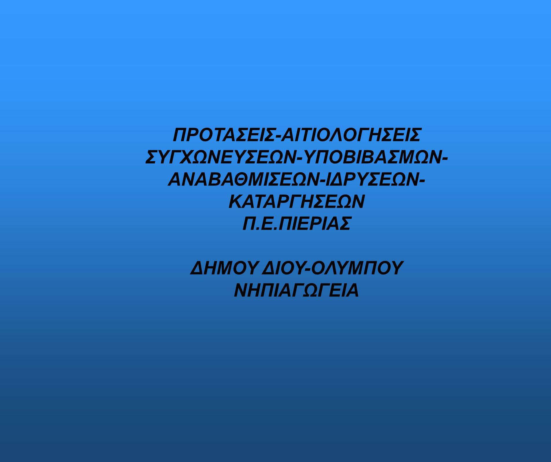 ΠΡΟΤΑΣΕΙΣ-ΑΙΤΙΟΛΟΓΗΣΕΙΣ ΣΥΓΧΩΝΕΥΣΕΩΝ-ΥΠΟΒΙΒΑΣΜΩΝ- ΑΝΑΒΑΘΜΙΣΕΩΝ-ΙΔΡΥΣΕΩΝ- ΚΑΤΑΡΓΗΣΕΩΝ Π.Ε.ΠΙΕΡΙΑΣ ΔΗΜΟΥ ΔΙΟΥ-ΟΛΥΜΠΟΥ ΝΗΠΙΑΓΩΓΕΙΑ