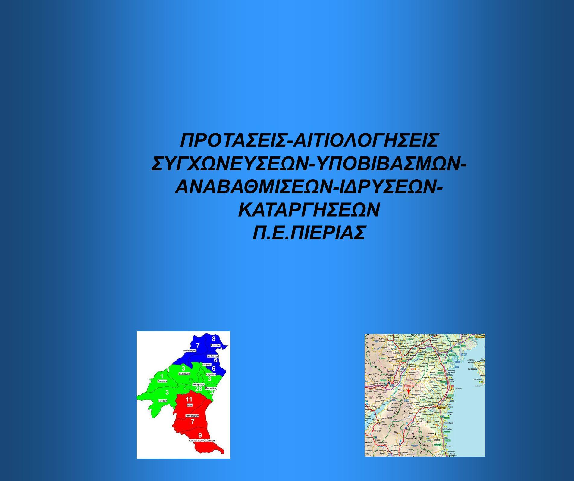 ΠΡΟΤΑΣΕΙΣ-ΑΙΤΙΟΛΟΓΗΣΕΙΣ ΣΥΓΧΩΝΕΥΣΕΩΝ-ΥΠΟΒΙΒΑΣΜΩΝ- ΑΝΑΒΑΘΜΙΣΕΩΝ-ΙΔΡΥΣΕΩΝ- ΚΑΤΑΡΓΗΣΕΩΝ Π.Ε.ΠΙΕΡΙΑΣ