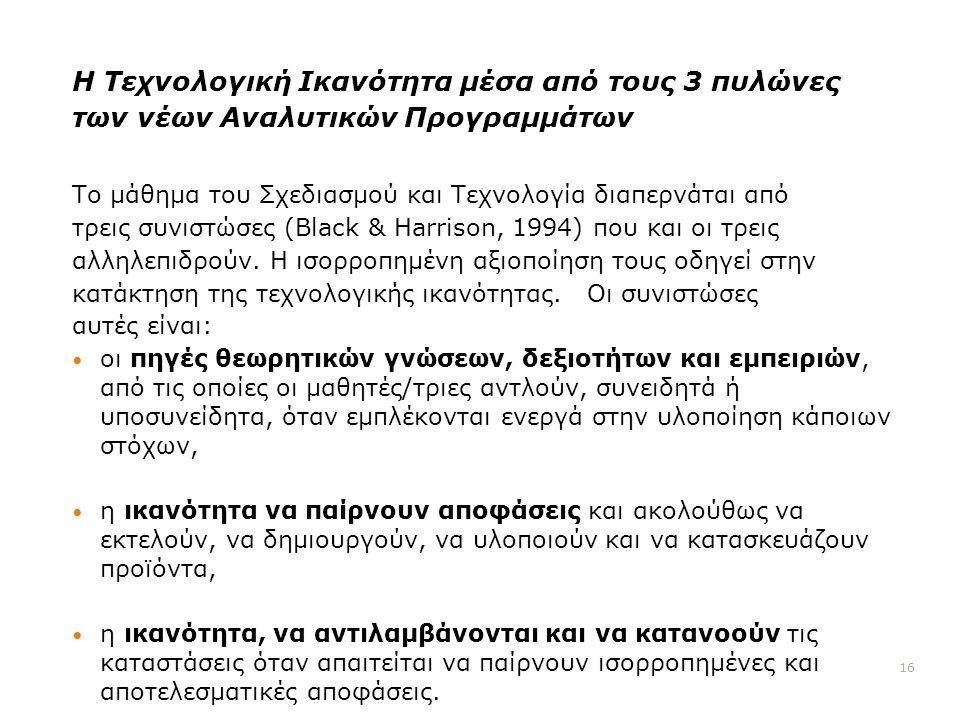 Η Τεχνολογική Ικανότητα μέσα από τους 3 πυλώνες των νέων Αναλυτικών Προγραμμάτων Το μάθημα του Σχεδιασμού και Τεχνολογία διαπερνάται από τρεις συνιστώσες (Black & Harrison, 1994) που και οι τρεις αλληλεπιδρούν.