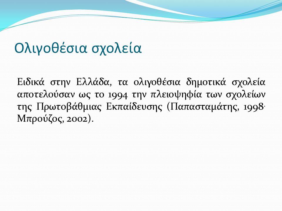 Ολιγοθέσια σχολεία Ειδικά στην Ελλάδα, τα ολιγοθέσια δημοτικά σχολεία αποτελούσαν ως το 1994 την πλειοψηφία των σχολείων της Πρωτοβάθμιας Εκπαίδευσης