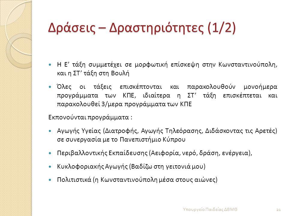 Δράσεις – Δραστηριότητες (1/2)  Η Ε' τάξη συμμετέχει σε μορφωτική επίσκεψη στην Κωνσταντινούπολη, και η ΣΤ' τάξη στη Βουλή  Όλες οι τάξεις επισκέπτο
