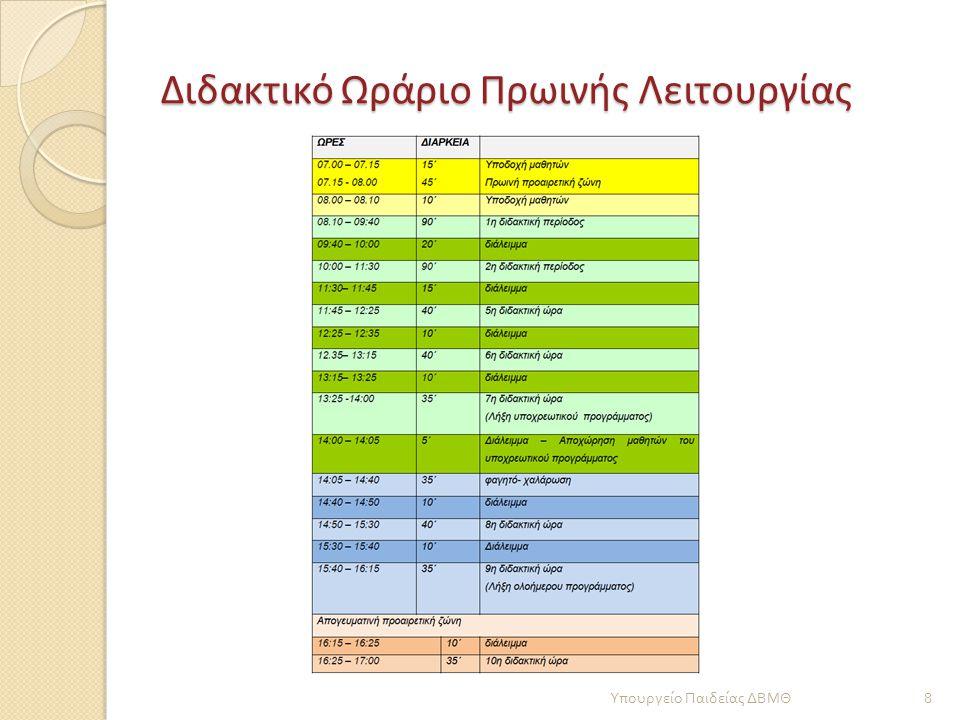 Διδακτικό Ωράριο Πρωινής Λειτουργίας 8 Υπουργείο Παιδείας ΔΒΜΘ