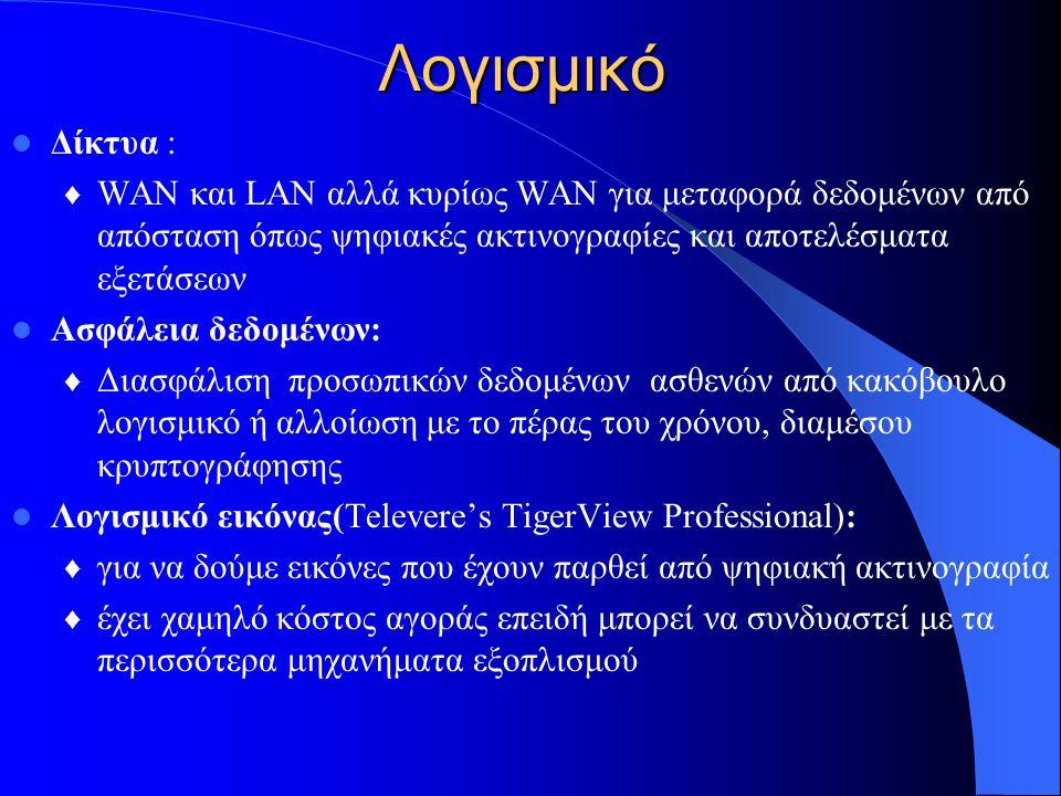 Λογισμικό  Δίκτυα : ♦ WAN και LAN αλλά κυρίως WAN για μεταφορά δεδομένων από απόσταση όπως ψηφιακές ακτινογραφίες και αποτελέσματα εξετάσεων  Ασφάλεια δεδομένων: ♦ Διασφάλιση προσωπικών δεδομένων ασθενών από κακόβουλο λογισμικό ή αλλοίωση με το πέρας του χρόνου, διαμέσου κρυπτογράφησης  Λογισμικό εικόνας(Televere's TigerView Professional): ♦ για να δούμε εικόνες που έχουν παρθεί από ψηφιακή ακτινογραφία ♦ έχει χαμηλό κόστος αγοράς επειδή μπορεί να συνδυαστεί με τα περισσότερα μηχανήματα εξοπλισμού