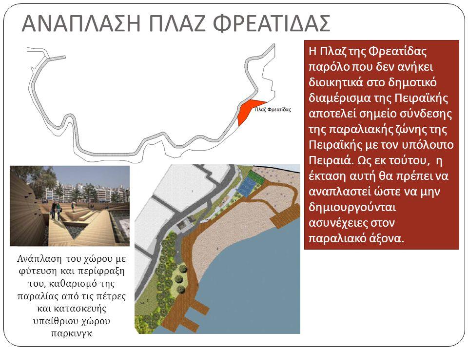 Η Πλαζ της Φρεατίδας παρόλο που δεν ανήκει διοικητικά στο δημοτικό διαμέρισμα της Πειραϊκής αποτελεί σημείο σύνδεσης της παραλιακής ζώνης της Πειραϊκής με τον υπόλοιπο Πειραιά.