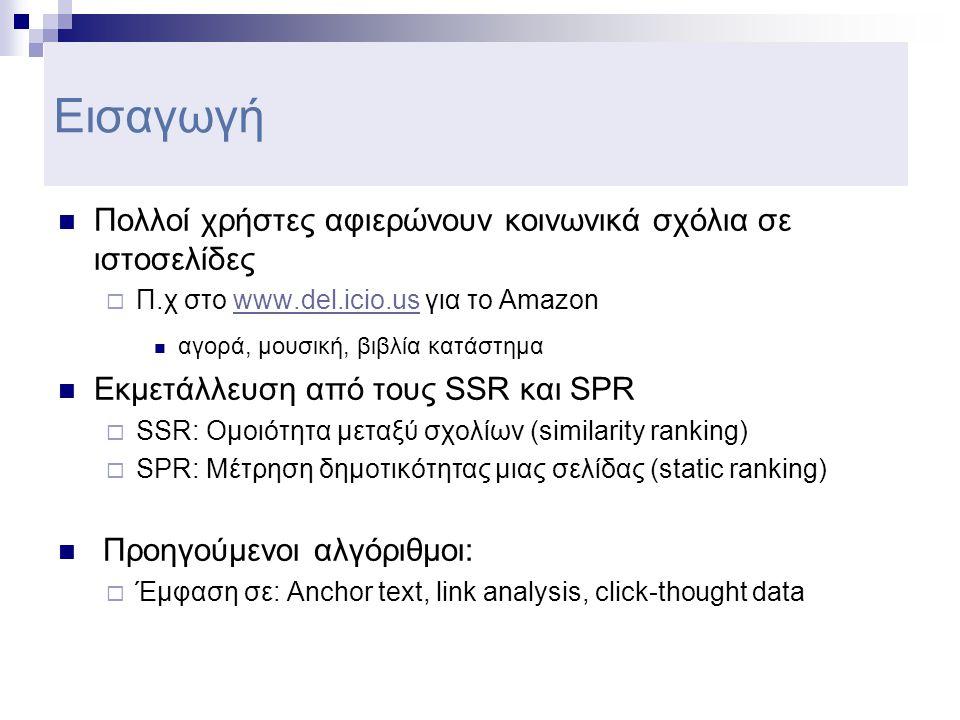Εισαγωγή  Πολλοί χρήστες αφιερώνουν κοινωνικά σχόλια σε ιστοσελίδες  Π.χ στο www.del.icio.us για το Amazonwww.del.icio.us  αγορά, μουσική, βιβλία κατάστημα  Εκμετάλλευση από τους SSR και SPR  SSR: Ομοιότητα μεταξύ σχολίων (similarity ranking)  SPR: Μέτρηση δημοτικότητας μιας σελίδας (static ranking)  Προηγούμενοι αλγόριθμοι:  Έμφαση σε: Anchor text, link analysis, click-thought data