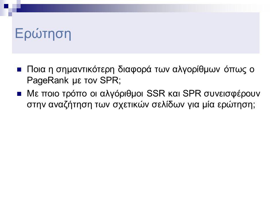 Ερώτηση  Ποια η σημαντικότερη διαφορά των αλγορίθμων όπως ο PageRank με τον SPR;  Με ποιο τρόπο οι αλγόριθμοι SSR και SPR συνεισφέρουν στην αναζήτηση των σχετικών σελίδων για μία ερώτηση;