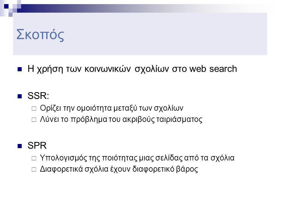 Σκοπός  Η χρήση των κοινωνικών σχολίων στο web search  SSR:  Ορίζει την ομοιότητα μεταξύ των σχολίων  Λύνει το πρόβλημα του ακριβούς ταιριάσματος  SPR  Υπολογισμός της ποιότητας μιας σελίδας από τα σχόλια  Διαφορετικά σχόλια έχουν διαφορετικό βάρος