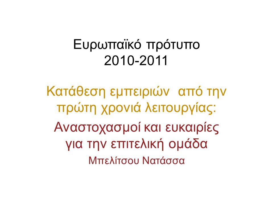 Ευρωπαϊκό πρότυπο 2010-2011 Κατάθεση εμπειριών από την πρώτη χρονιά λειτουργίας: Αναστοχασμοί και ευκαιρίες για την επιτελική ομάδα Μπελίτσου Νατάσσα
