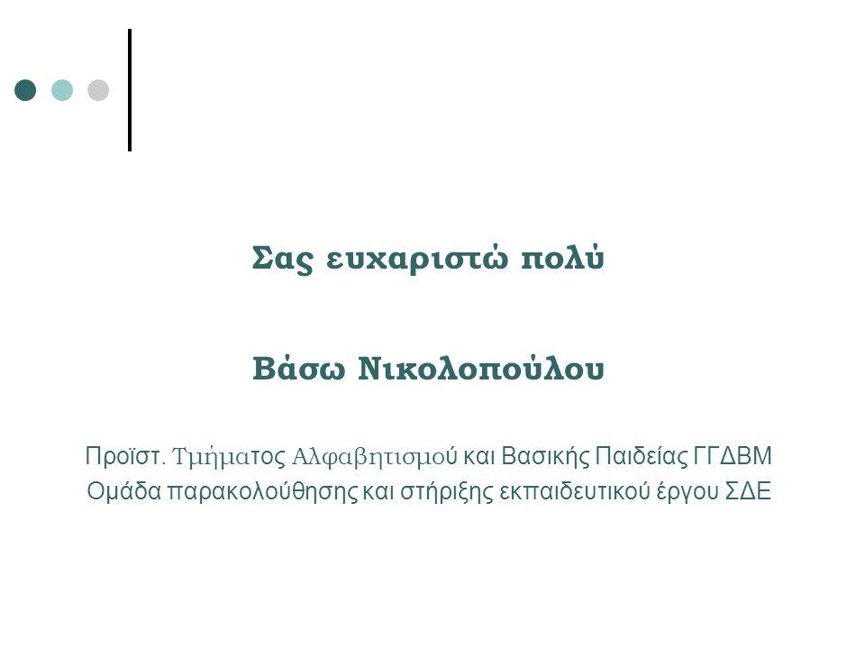 Σας ευχαριστώ πολύ Βάσω Νικολοπούλου Προϊστ. Τμήμα τος Αλφαβητισμο ύ και Βασικής Παιδείας ΓΓΔΒΜ Ομάδα παρακολούθησης και στήριξης εκπαιδευτικού έργου