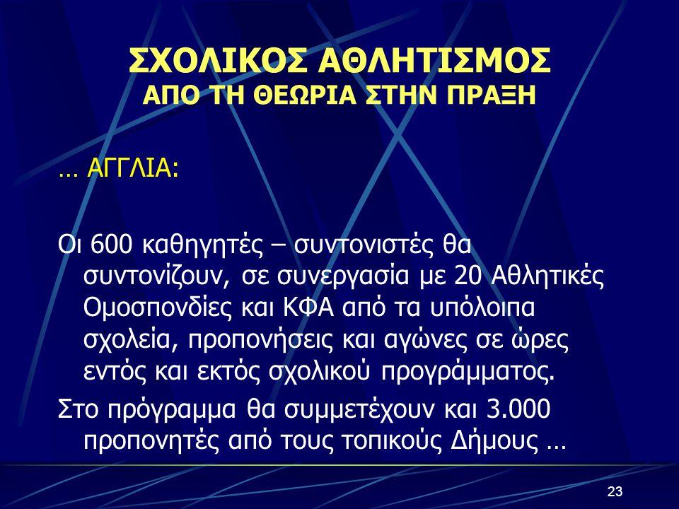 ΣΧΟΛΙΚΟΣ ΑΘΛΗΤΙΣΜΟΣ ΑΠΟ ΤΗ ΘΕΩΡΙΑ ΣΤΗΝ ΠΡΑΞΗ … ΑΓΓΛΙΑ: Οι 600 καθηγητές – συντονιστές θα συντονίζουν, σε συνεργασία με 20 Αθλητικές Ομοσπονδίες και ΚΦ
