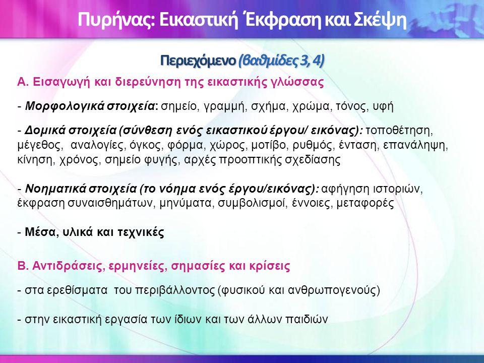 Περιεχόμενο (βαθμίδες 3, 4) Πυρήνας: Εικαστική Έκφραση και Σκέψη Περιεχόμενο (βαθμίδες 3, 4) Α. Εισαγωγή και διερεύνηση της εικαστικής γλώσσας - Μορφο