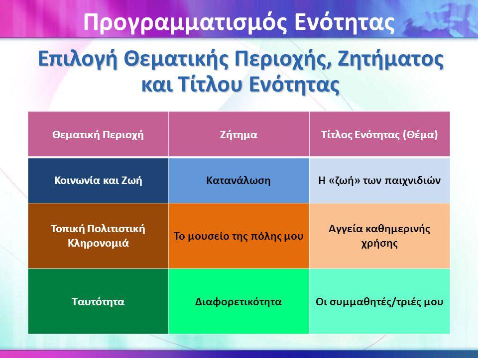 Επιλογή Θεματικής Περιοχής, Ζητήματος και Τίτλου Ενότητας Θεματική ΠεριοχήΖήτημαΤίτλος Ενότητας (Θέμα) Κοινωνία και ΖωήΚατανάλωσηΗ «ζωή» των παιχνιδιώ