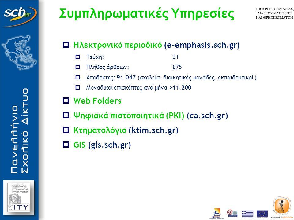 Συμπληρωματικές Υπηρεσίες  Ηλεκτρονικό περιοδικό (e-emphasis.sch.gr)  Τεύχη:21  Πλήθος άρθρων: 875  Αποδέκτες: 91.047 (σχολεία, διοικητικές μονάδες, εκπαιδευτικοί )  Μοναδικοί επισκέπτες ανά μήνα >11.200  Web Folders  Ψηφιακά πιστοποιητικά (PKI) (ca.sch.gr)  Κτηματολόγιο (ktim.sch.gr)  GIS (gis.sch.gr)