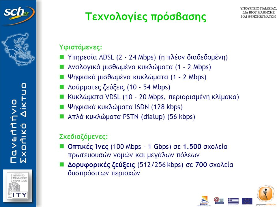 Προτεινόμενη στρατηγική ευρυζωνικής αναβάθμισης των προσβάσεων των σχολείων  Καθολική χρήση της τεχνολογίας ADSL 2+  Είναι τεχνικά και οικονομικά εφικτή η αναβάθμιση των υφιστάμενων ADSL προσβάσεων ταχύτητας 2, 4, 8 Mbps σε ταχύτητα 24 Mbps εκεί όπου το δίκτυο του τηλεπικοινωνιακού παρόχου το επιτρέπει.