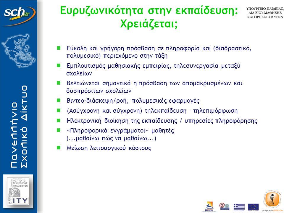 Ευρυζωνικότητα στην εκπαίδευση: Χρειάζεται;  Εύκολη και γρήγορη πρόσβαση σε πληροφορία και (διαδραστικό, πολυμεσικό) περιεχόμενο στην τάξη  Εμπλουτισμός μαθησιακής εμπειρίας, τηλεσυνεργασία μεταξύ σχολείων  Βελτιώνεται σημαντικά η πρόσβαση των απομακρυσμένων και δυσπρόσιτων σχολείων  Βιντεο-διάσκεψη/ροή, πολυμεσικές εφαρμογές  (Ασύγχρονη και σύγχρονη) τηλεκπαίδευση - τηλεπιμόρφωση  Ηλεκτρονική διοίκηση της εκπαίδευσης / υπηρεσίες πληροφόρησης  «Πληροφορικά εγγράμματοι» μαθητές (...μαθαίνω πώς να μαθαίνω...)  Μείωση λειτουργικού κόστους