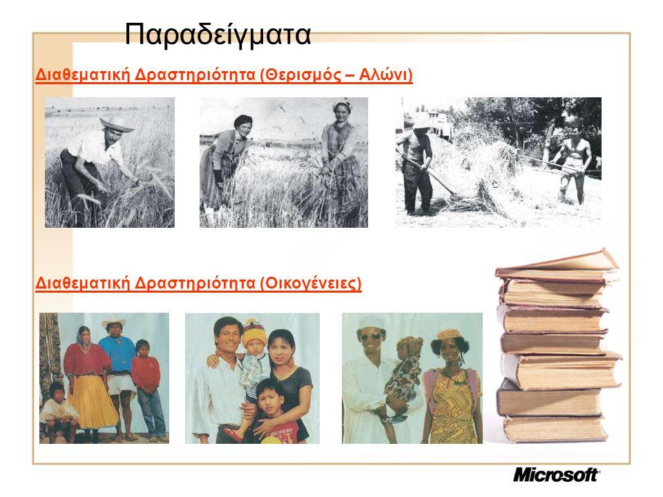 Παραδείγματα Διαθεματική Δραστηριότητα (Θερισμός – Αλώνι) Διαθεματική Δραστηριότητα (Οικογένειες)