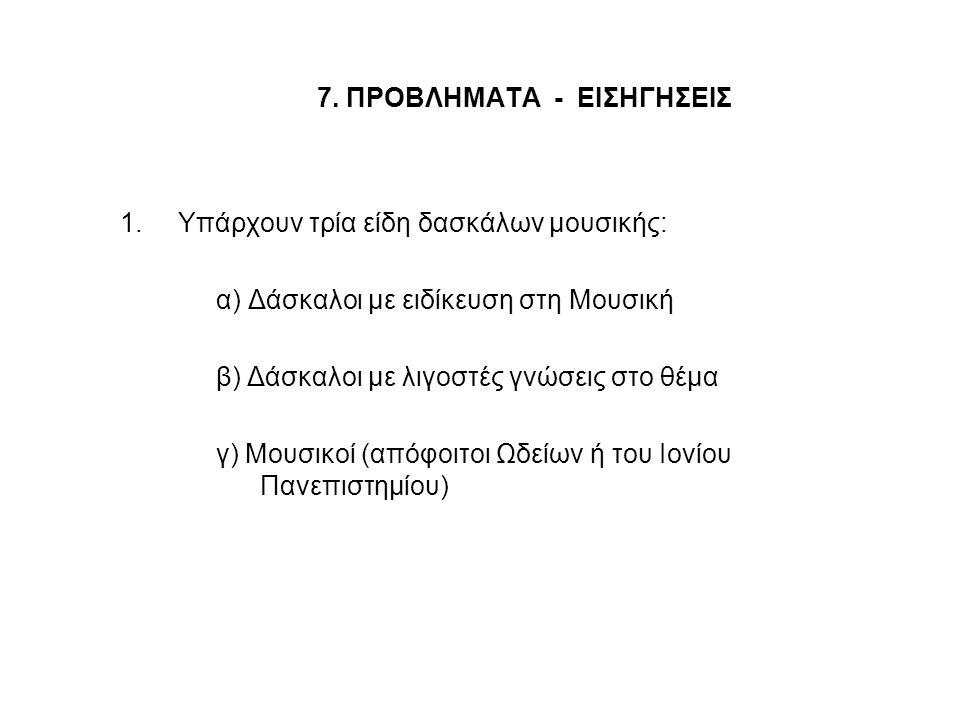 7. ΠΡΟΒΛΗΜΑΤΑ - ΕΙΣΗΓΗΣΕΙΣ 1.Υπάρχουν τρία είδη δασκάλων μουσικής: α) Δάσκαλοι με ειδίκευση στη Μουσική β) Δάσκαλοι με λιγοστές γνώσεις στο θέμα γ) Μο