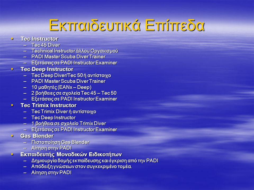 Εκπαιδευτικά Επίπεδα  Tec Instructor –Tec 45 Diver –Technical Instructor άλλου Οργανισμού –PADI Master Scuba Diver Trainer –Εξετάσεις σε PADI Instructor Examiner  Tec Deep Instructor –Tec Deep Diver/Tec 50 ή αντίστοιχο –PADI Master Scuba Diver Trainer –10 μαθητές (EANx – Deep) –2 βοήθειες σε σχολεία Tec 45 – Tec 50 –Εξετάσεις σε PADI Instructor Examiner  Tec Trimix Instructor –Tec Trimix Diver ή αντίστοιχο –Tec Deep Instructor –1 βοήθεια σε σχολείο Trimix Diver –Εξετάσεις σε PADI Instructor Examiner  Gas Blender –Πιστοποίηση Gas Blender –Αίτηση στην PADI  Εκπαιδευτής Μοναδικών Ειδικοτήτων –Δημιουργία δομής εκπαίδευσης και έγκριση από την PADI –Απόδειξη γνώσεων στον συγκεκριμένο τομέα.