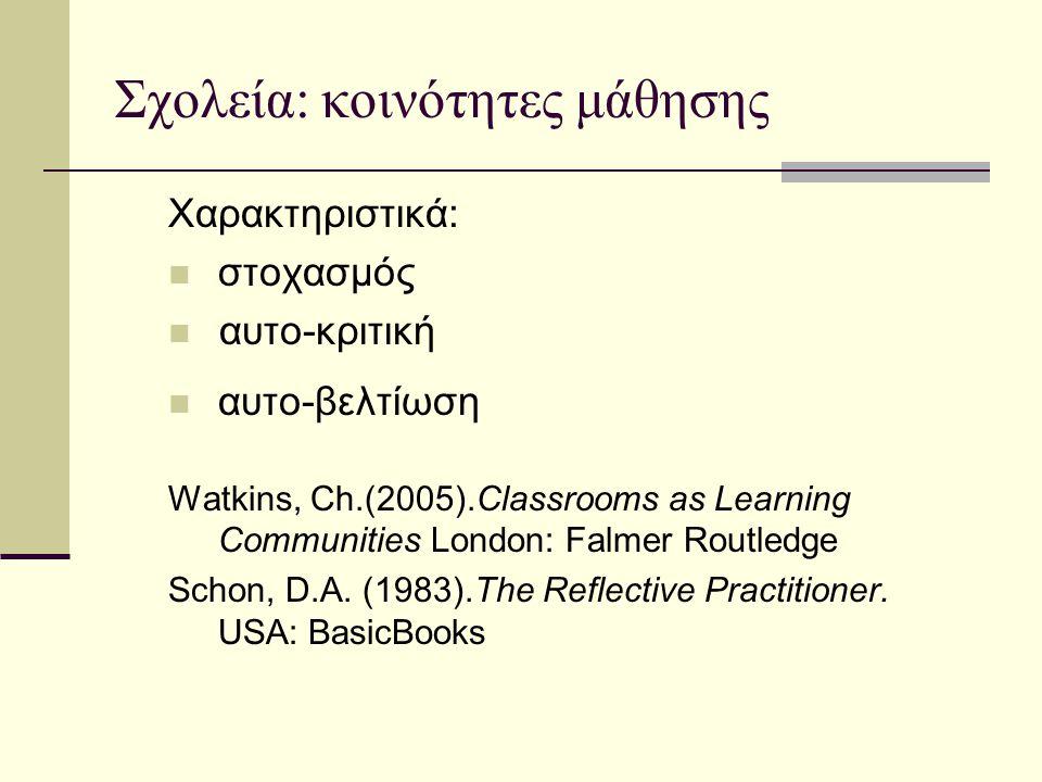 Σχολεία: κοινότητες μάθησης Χαρακτηριστικά:  στοχασμός  αυτο-κριτική  αυτo-βελτίωση Watkins, Ch.(2005).Classrooms as Learning Communities London: F