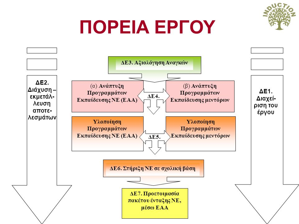 ΔΕ3. Αξιολόγηση Αναγκών ΔΕ1. Διαχεί- ριση του έργου (α) Ανάπτυξη Προγραμμάτων Εκπαίδευσης ΝΕ (ΕΑΑ) (β) Ανάπτυξη Προγραμμάτων Εκπαίδευσης μεντόρων Υλοπ