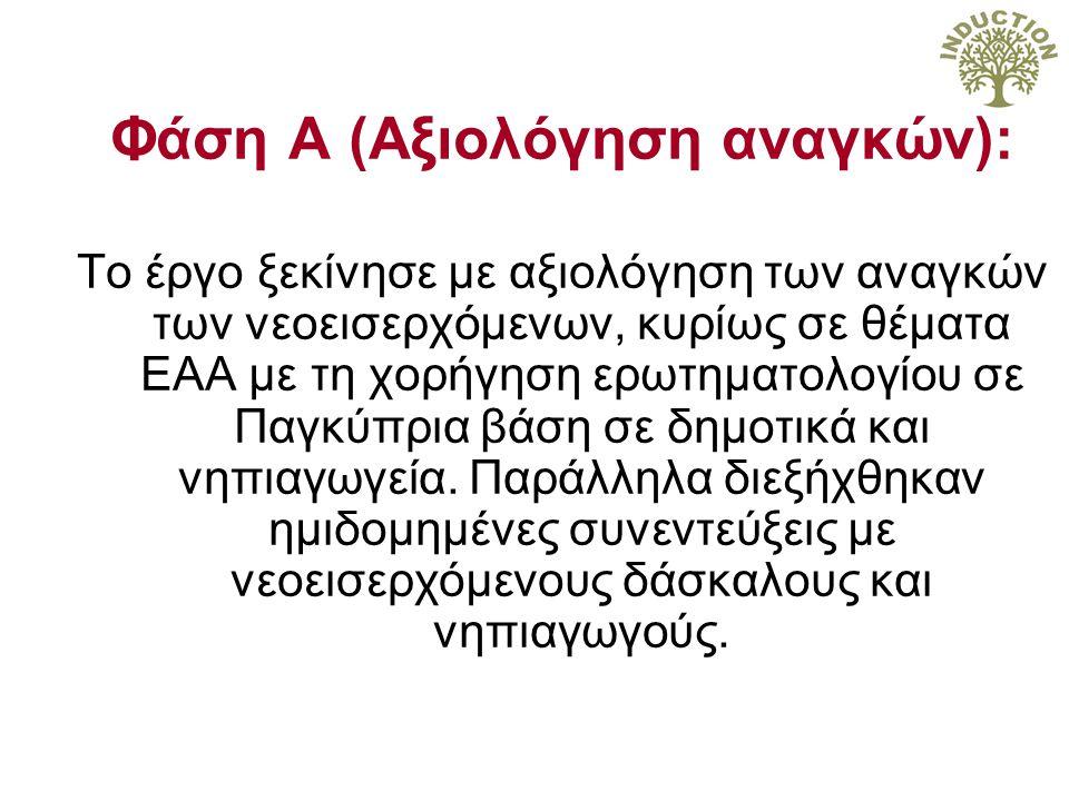Φάση Α (Αξιολόγηση αναγκών): Το έργο ξεκίνησε με αξιολόγηση των αναγκών των νεοεισερχόμενων, κυρίως σε θέματα ΕΑΑ με τη χορήγηση ερωτηματολογίου σε Παγκύπρια βάση σε δημοτικά και νηπιαγωγεία.