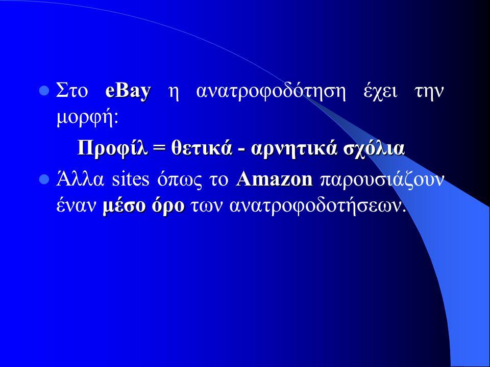 eBay  Στο eBay η ανατροφοδότηση έχει την μορφή: Προφίλ = θετικά - αρνητικά σχόλια Amazon μέσο όρο  Άλλα sites όπως το Amazon παρουσιάζουν έναν μέσο όρο των ανατροφοδοτήσεων.
