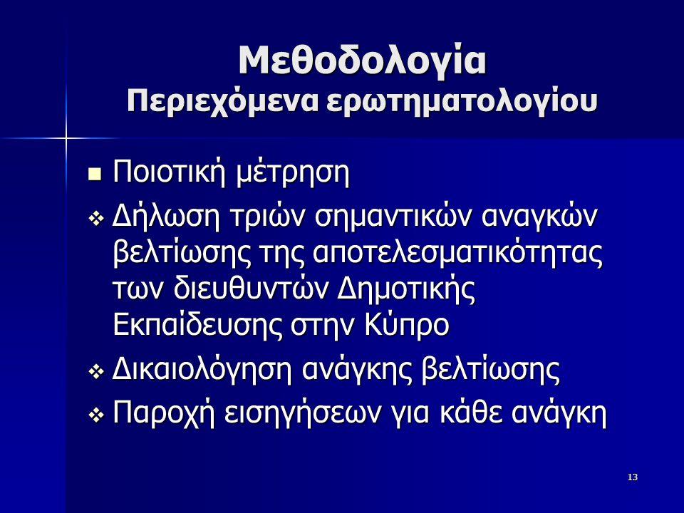 13 Μεθοδολογία Περιεχόμενα ερωτηματολογίου  Ποιοτική μέτρηση  Δήλωση τριών σημαντικών αναγκών βελτίωσης της αποτελεσματικότητας των διευθυντών Δημοτικής Εκπαίδευσης στην Κύπρο  Δικαιολόγηση ανάγκης βελτίωσης  Παροχή εισηγήσεων για κάθε ανάγκη