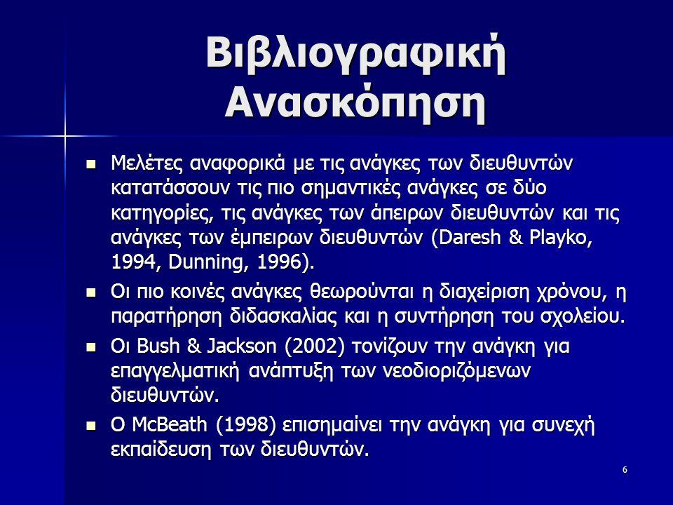 6 Βιβλιογραφική Ανασκόπηση  Μελέτες αναφορικά με τις ανάγκες των διευθυντών κατατάσσουν τις πιο σημαντικές ανάγκες σε δύο κατηγορίες, τις ανάγκες των άπειρων διευθυντών και τις ανάγκες των έμπειρων διευθυντών (Daresh & Playko, 1994, Dunning, 1996).