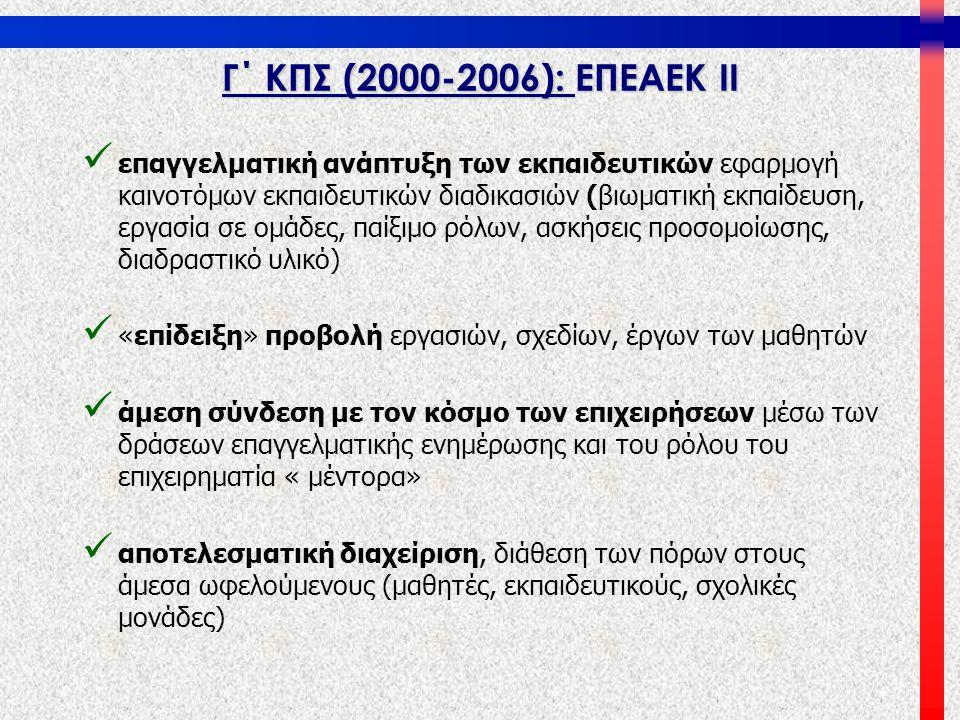 Γ΄ ΚΠΣ (2000-2006): ΕΠΕΑΕΚ ΙΙ   επαγγελματική ανάπτυξη των εκπαιδευτικών εφαρμογή καινοτόμων εκπαιδευτικών διαδικασιών (βιωματική εκπαίδευση, εργασί