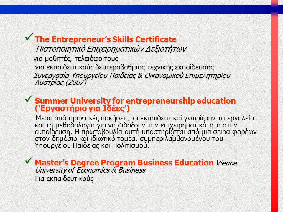  The Entrepreneur's Skills Certificate Πιστοποιητικό Επιχειρηματικών Δεξιοτήτων Πιστοποιητικό Επιχειρηματικών Δεξιοτήτων για μαθητές, τελειόφοιτους γ