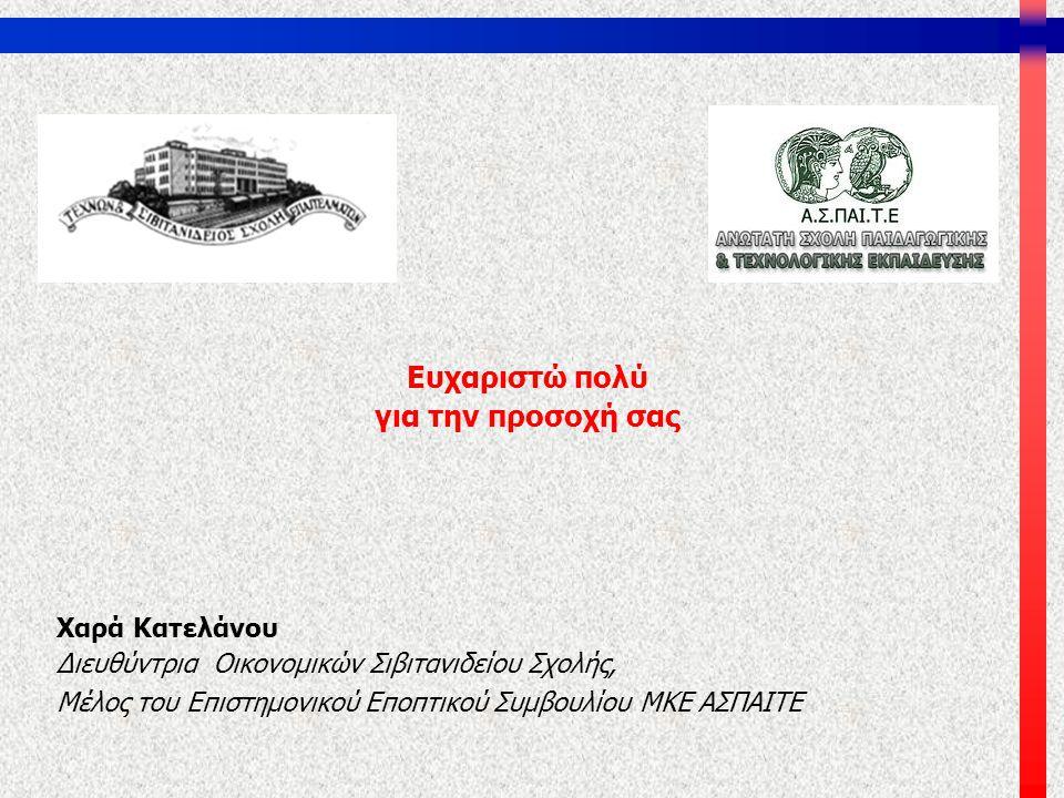 Ευχαριστώ πολύ για την προσοχή σας Χαρά Κατελάνου Διευθύντρια Οικονομικών Σιβιτανιδείου Σχολής, Μέλος του Επιστημονικού Εποπτικού Συμβουλίου ΜΚΕ ΑΣΠΑΙ