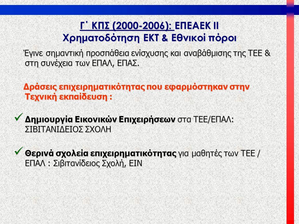 Γ΄ ΚΠΣ (2000-2006): ΕΠΕΑΕΚ ΙΙ Χρηματοδότηση ΕΚΤ & Εθνικοί πόροι Έγινε σημαντική προσπάθεια ενίσχυσης και αναβάθμισης της ΤΕΕ & στη συνέχεια των ΕΠΑΛ,