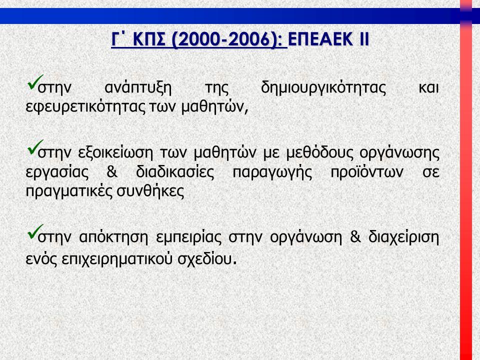 Γ΄ ΚΠΣ (2000-2006): ΕΠΕΑΕΚ ΙΙ   στην ανάπτυξη της δημιουργικότητας και εφευρετικότητας των μαθητών,   στην εξοικείωση των μαθητών με μεθόδους οργά