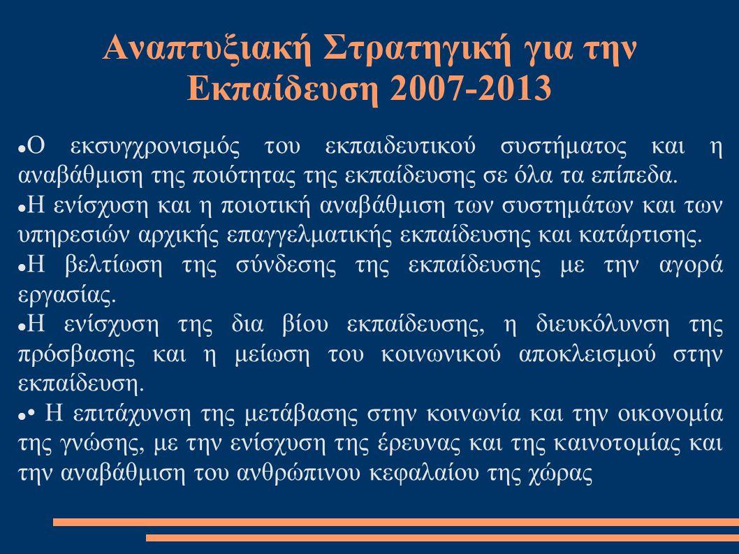Αναπτυξιακή Στρατηγική για την Εκπαίδευση 2007-2013  Ο εκσυγχρονισμός του εκπαιδευτικού συστήματος και η αναβάθμιση της ποιότητας της εκπαίδευσης σε όλα τα επίπεδα.