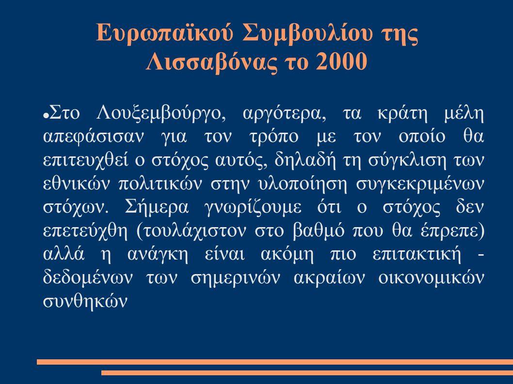 Ευρωπαϊκού Συμβουλίου της Λισσαβόνας το 2000  Στο Λουξεμβούργο, αργότερα, τα κράτη μέλη απεφάσισαν για τον τρόπο με τον οποίο θα επιτευχθεί ο στόχος αυτός, δηλαδή τη σύγκλιση των εθνικών πολιτικών στην υλοποίηση συγκεκριμένων στόχων.