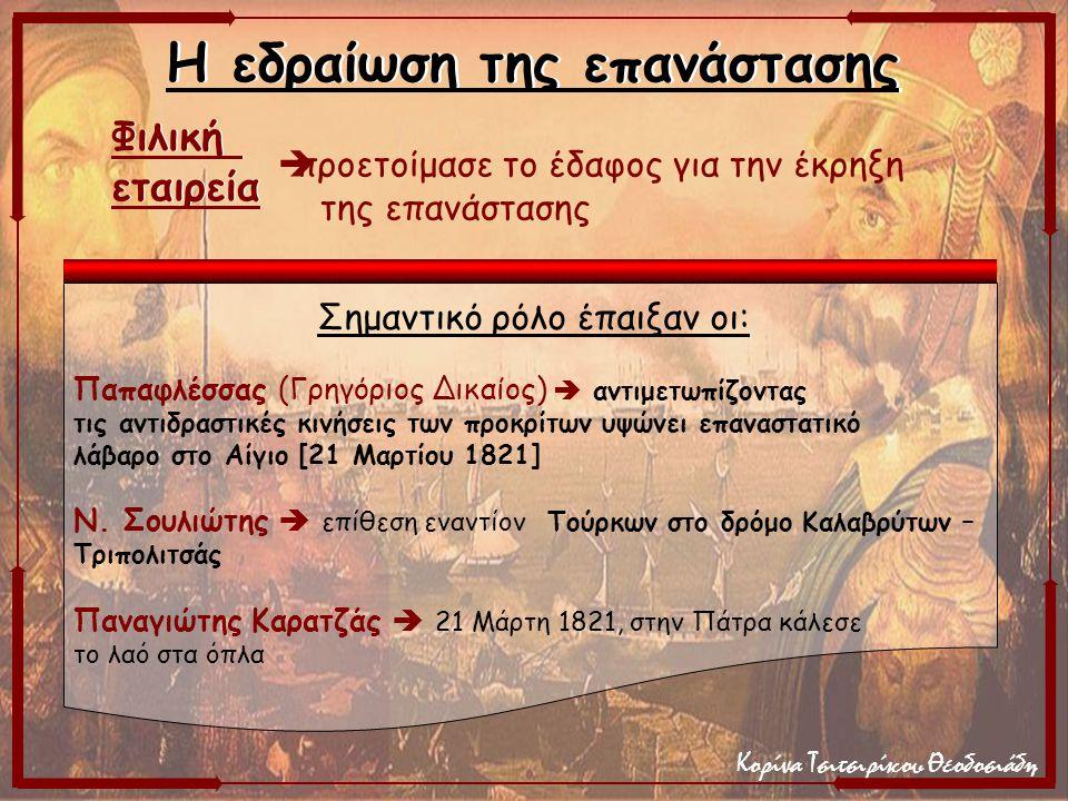Κορίνα Τσιτσιρίκου Θεοδοσιάδη Σημαντικό ρόλο έπαιξαν οι: Παπαφλέσσας (Γρηγόριος Δικαίος)  αντιμετωπίζοντας τις αντιδραστικές κινήσεις των προκρίτων υ