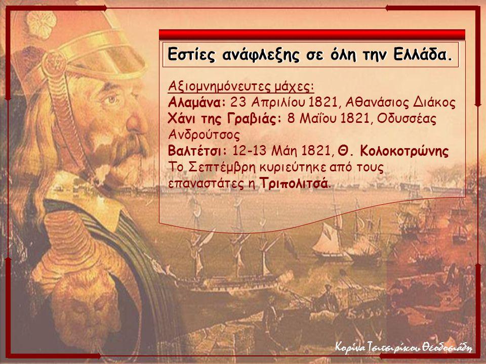 Κορίνα Τσιτσιρίκου Θεοδοσιάδη Αξιομνημόνευτες μάχες: Αλαμάνα: 23 Απριλίου 1821, Αθανάσιος Διάκος Χάνι της Γραβιάς: 8 Μαΐου 1821, Οδυσσέας Ανδρούτσος Β