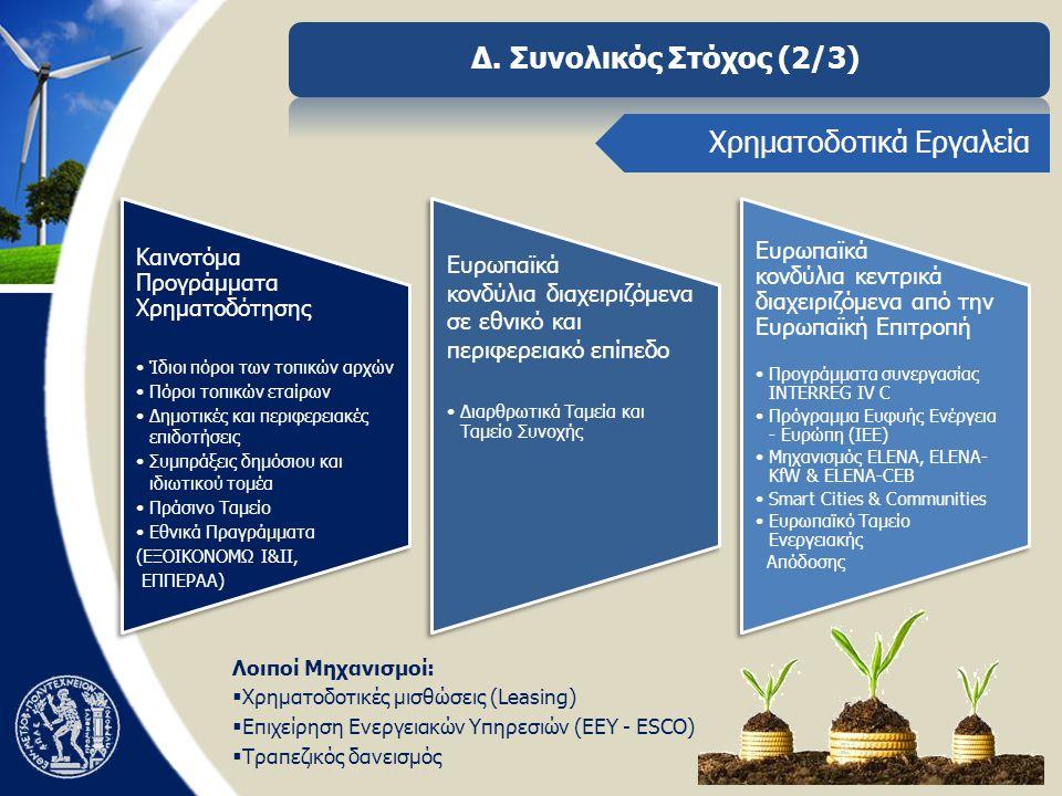 Δ. Συνολικός Στόχος (2/3) Χρηματοδοτικά Εργαλεία Λοιποί Μηχανισμοί:  Χρηματοδοτικές μισθώσεις (Leasing)  Επιχείρηση Ενεργειακών Υπηρεσιών (ΕΕΥ - ESC