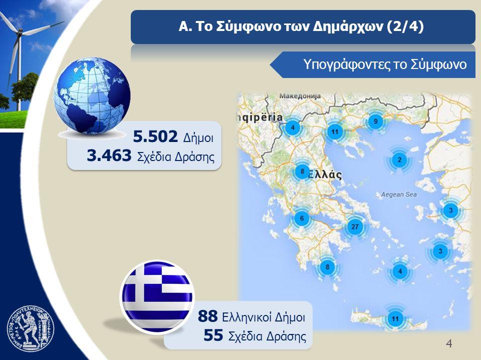 4 Α. Το Σύμφωνο των Δημάρχων (2/4) 5.502 Δήμοι 3.463 Σχέδια Δράσης 5.502 Δήμοι 3.463 Σχέδια Δράσης Υπογράφοντες το Σύμφωνο 88 Ελληνικοί Δήμοι 55 Σχέδι