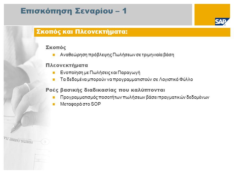 Επισκόπηση Σεναρίου – 2 Απαιτείται  Το πακέτο βελτίωσης 4 του SAP για SAP ERP 6.0 Ρόλοι εταιρίας στις ροές διαδικασίας  Ελεγκτής Επιχείρησης  Δ/ντής Πωλήσεων Εφαρμογές SAP που Απαιτούνται: