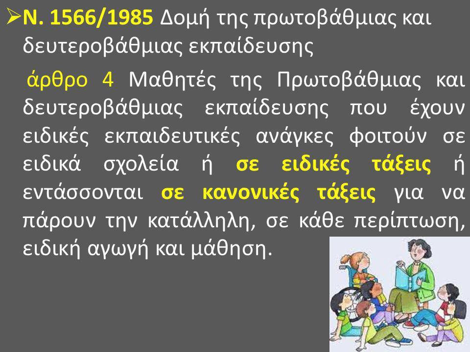  Ν. 1566/1985 Δομή της πρωτοβάθμιας και δευτεροβάθμιας εκπαίδευσης άρθρο 4 Μαθητές της Πρωτοβάθμιας και δευτεροβάθμιας εκπαίδευσης που έχουν ειδικές